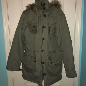 Arizona Jean Company Green Faux Fur Coat Size XL